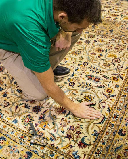 Columbus Chem-Dry Technician Performing Professional Area and Oriental Rug Cleaning in Columbus, Indiana