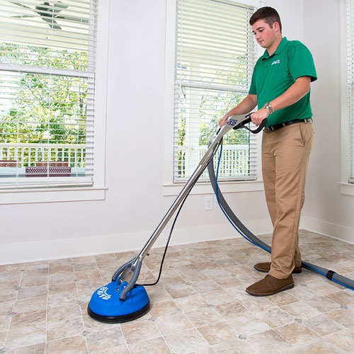 Columbus Chem-Dry Technician Providing Stone, Tile & Grout Cleaning in Columbus Indiana